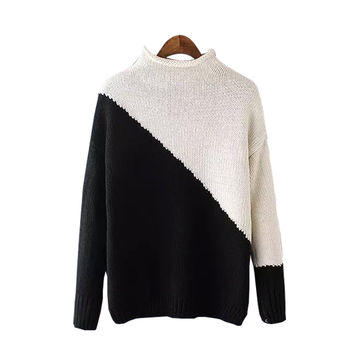 Women's Unique Splice Thick Knitted Pullover Sweater Jumper