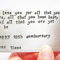 Personalized Love Note, Birthday Card, Hand Stamped Keepsake Card, Wallet Insert, Metal Wallet Card, Graduation Gift, Deployment Gift, men