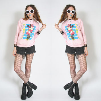 90s Pastel Pink Minnie Mouse Sweatshirt - 90s 1990s Crewneck - Pastel Goth Grunge - Vintage 90s Clothing - Hipster - Soft Grunge Hipster