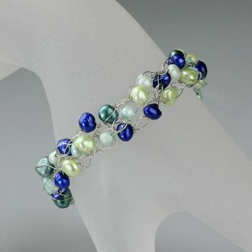 Blue pearl chunky crocheted wiring blue Bracelet Bridesmaid gifts Free US Shipping handmade Anni designs