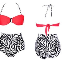 Retro Vintage High Waisted 2 Pieces Bikini Sets Red Top+zebra Bottom (XL(US 8-10))