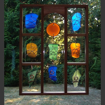 Suncatcher, Sun Catcher, Stained Glass, Sea Glass, Beach Glass, Copper, Framed, Hanging