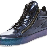 Giuseppe Zanotti Metallic-Blue Leather Zip-up High-Top Sneaker (17 US/50 EU)