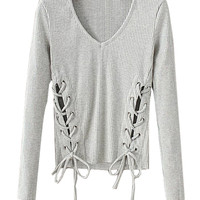 Grey V-neck Lace Up Long Sleeve Ribbed T-shirt