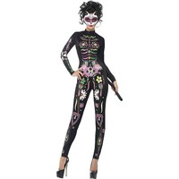 Day of the Dead Sugar Skull Cat Costume - Adult (Blue)