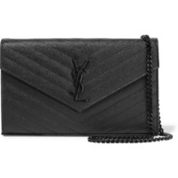 Saint Laurent - Monogramme mini quilted textured-leather shoulder bag