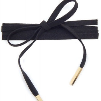 Thick Faux Suede Wrap Around Choker Pole Necklace - Black