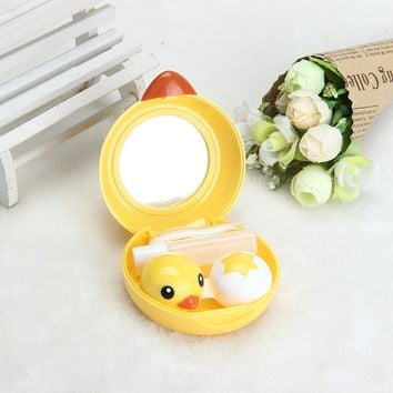 Popular Mini  Contact Lens Case Box Travel Kit Easy Carry Mirror Container