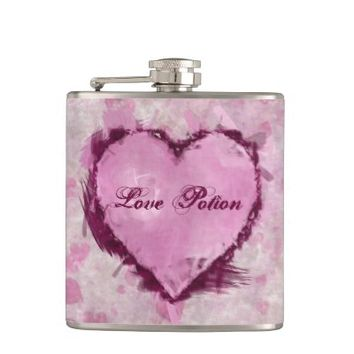 Grungy Hearts Flask