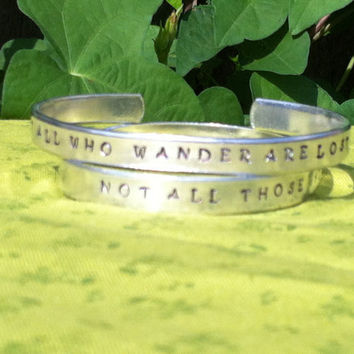 Not All Those Who Wander Are Lost JRR Tolkien Quote Silver Toned  Hand Stamped Bracelet