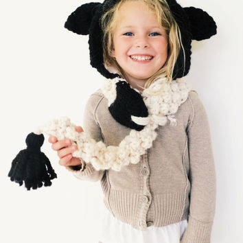 Lamb Sheep Hat Hood Cowl Scarf Knit Toddler Child Adult // Lucille the Lamb Hood