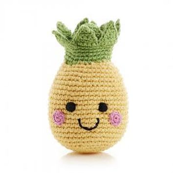 Smiling Pineapple  Knitted Baby Rattle - Fair Trade