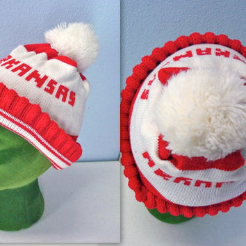 70s Razorback Stocking Cap Hat Arkansas Pom Pom