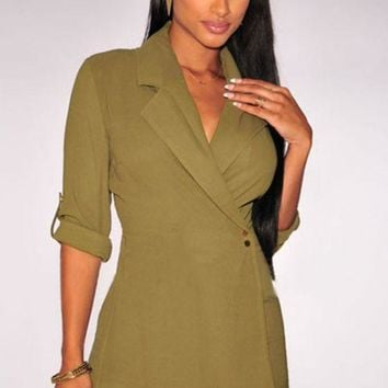 Olive Green Notched Trench Romper