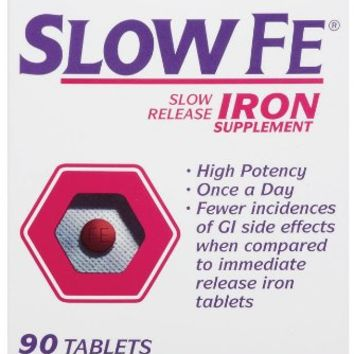 Slow Fe Slow Release Iron Tablets 90-Count Box