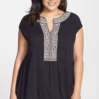 Plus Size Women's Caslon Embroidered Boho Top,