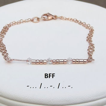 Morse Code Message BFF Bracelet 14KT Rose Gold filled Mother's Day Best Friend Daughter Bridesmaid Girlfriend Wife Mother Sister Gift Idea