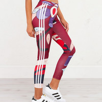 Adidas Originals X Rita Ora Paint Print Three Stripe Leggings