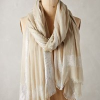 Shimmer Striped Scarf by Anthropologie in Beige Size: All Scarves