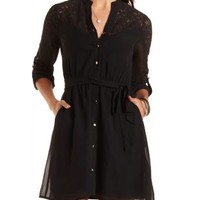 Lace-Yoke Chiffon Shirt Dress by Charlotte Russe