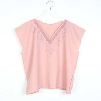 Vintage Rose Blouse Floral Embroidered Cut Out Detail V Neck Boxy Draped Top Minimalist Dusty Pink Cap Sleeve Scalloped Edge Embroidery L XL