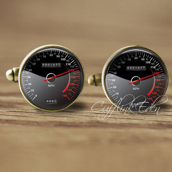 Speedometer Cufflinks, Car Speedometer Cuff Links, Trendy Cufflinks, Fun Gifts For Men Race Car, Car Cufflinks, car lover gift