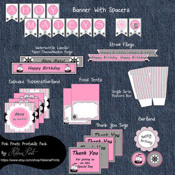Pink Pirate Party Package-Party Printable Decorations Package-Pirate Banner Cupcake Toppers-Pink and Black Pirate-Instant Download