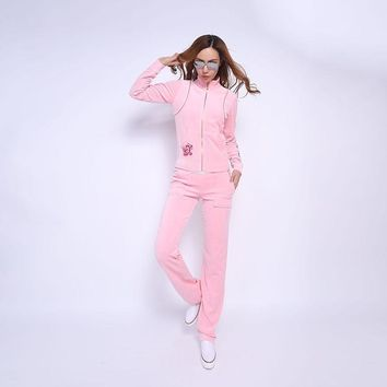Juicy Couture Fw2017 Velour Tracksuit 2pcs Rose Embroidery Women Suits Pink