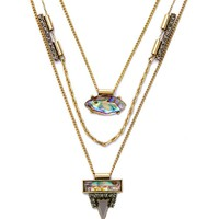 Casual Faux Crystal Pendant Three Layers Necklace