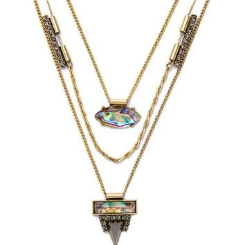 Streetstyle  Casual Faux Crystal Pendant Three Layers Necklace