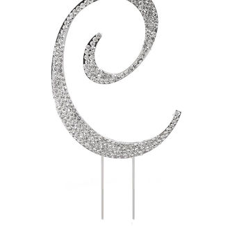 Letter C Rhinestone Crystal Cake Topper Silver Numbers Letters for Wedding Bi...