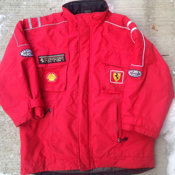 Rare Ferrari Magneti Marelli Red Racing Jacket Shell Size Youth XL