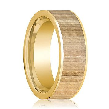 Mens Wedding Ring Polished 14k Yellow Gold Flat Wedding Band with Ash Wood Inlay - 8mm