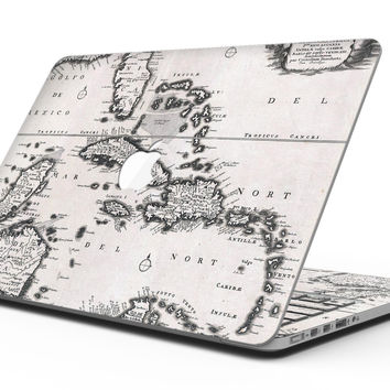 The Vintage Black and White Gulf of Mexico Map - MacBook Pro with Retina Display Full-Coverage Skin Kit