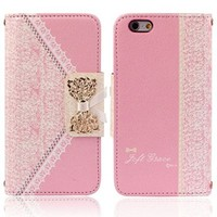 Towallmark(TM)Fashion Pink Fresh Cute Flip Wallet Leather Case Cover for iPhone 6 4.7''