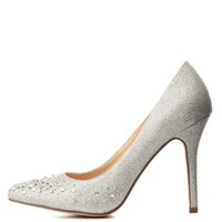 Silver Glitter & Rhinestone Pointed Toe Pumps by Charlotte Russe