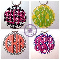 3 inch Monogrammed Keychain or Tag for Luggage or Bookbag -  Many Options - Bridesmaid Gift Newlywed Bride Teacher Sorority Sister Mom