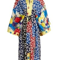 Nina contrast-panel silk and crepe kimono dress | Duro Olowu | MATCHESFASHION.COM US