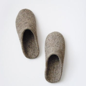 Eco friendly backless felted men's slippers