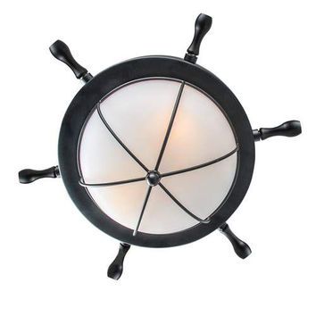 LNC 1-light Flush Mount Ceiling Light Fixture, Black Finish, Frosted Glass