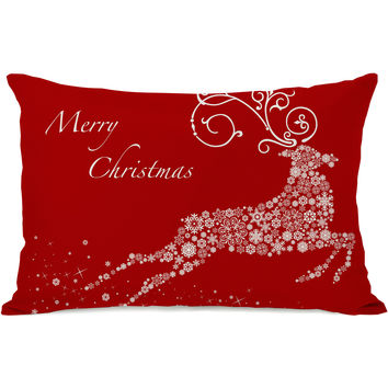 """Snowflake Reindeer"" Indoor Throw Pillow by OneBellaCasa, Red, 14""x20"""