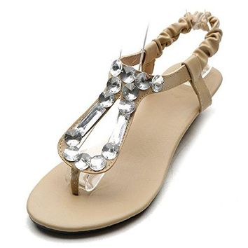 Ollio Womens Shoe Low Heel Beaded Thong Multi Color Sandal