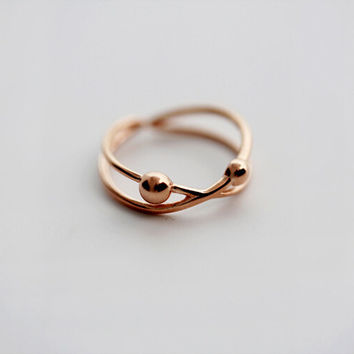 925 sterling silver Rose gold ball opening ring,two ball  ring,Personalized fashion ring,simple silver ring,a dainty gift
