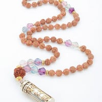 Intention Guardian Mala- 54 Bead Mala with Rudraksha & Mixed Fluorite