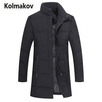KOLMAKOV 2017 new winter high quality men's stand collar warm down jacket solid color parkas,90% white duck down coats men.M-3XL