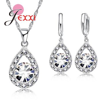 Jemmin Women Bridal Wedding Engagement Jewelry Set Waterdrop CZ Crystal 925 Sterling Silver Necklace Earring Lady Jewelry Set
