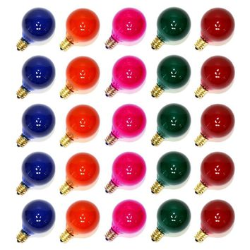 25 G40 Globe String Light Replacement Bulbs in 10 Colors