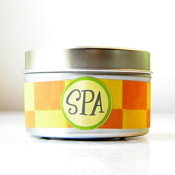 CIJ SALE 15% Off - SPA Soy Candle Tin / Container Candle /  lemongrass essential oil aromatherapychristmasinjuly Christmas in July