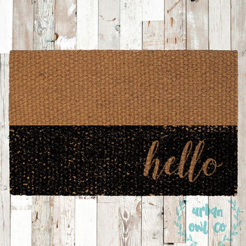 "Colorblock ""hello"" Coir Doormat, Decorative Area Rug, Hand Painted Hand Woven, Housewarming Gift"