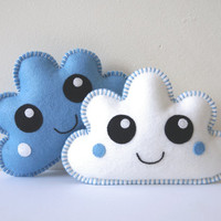 Nursery Decor, Soft Clouds - Kawaii Clouds set of two - Blue and White Clouds, Cloud Pillows, Baby Shower Gift, New baby gift